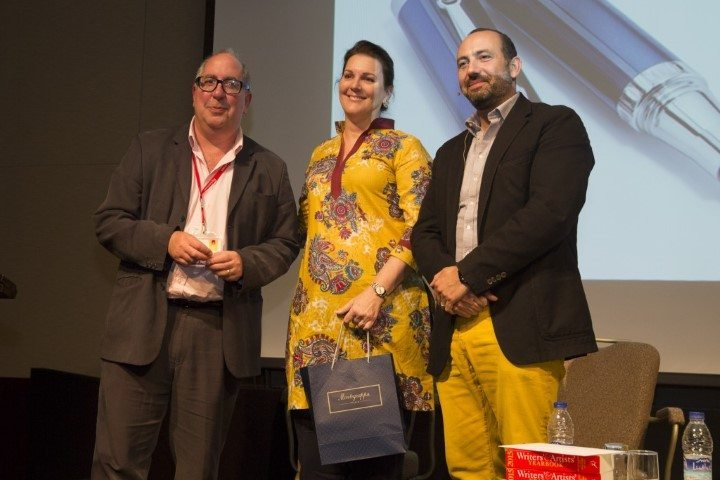 Claudine Pabst, winner of the Montegrappa Writing Prize 2015 with Luigi Bonomi and Charles Nahhas, MD Montegrappa ME